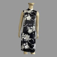 Vintage Chinese Cheongsam Silk Black & White Dress