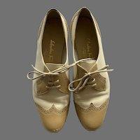 Ferragamo White & Tan Leather Oxford Saddle Shoes 9B