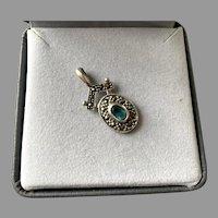 Sterling Silver Marcasite Blue Topaz Pendant
