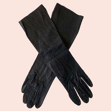 Vintage Black Kid Leather Gloves Size 6 1/2