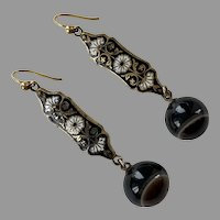 Victorian Bull's Eye Banded Agate & Enamel Earrings