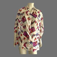 Scarf With Shoes, Purses, Lipstick, Nail Polish, Flowers Print
