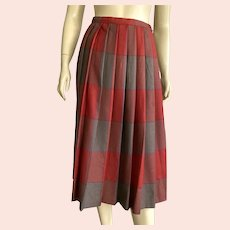 Vintage Plaid Pleated Skirt Small Size