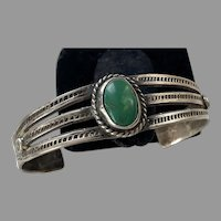 Vintage Native American Silver & Green Turquoise Cuff Bracelet
