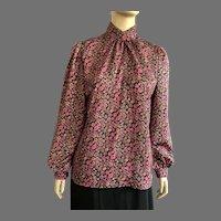 REDUCED 1980's Laura Mae Jacquard Print Long Sleeve Blouse