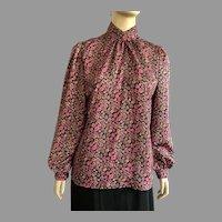 1980's Laura Mae Jacquard Print Long Sleeve Blouse