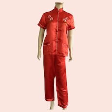 Vintage Silk Red Chinese Embroidered Pajamas