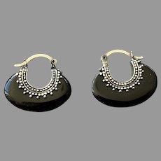 Balinese Style Sterling Black Onyx Hoop Earrings