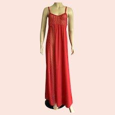 Lipstick Red Undercover Wear Nylon & Lace Negligee / Nightgown L 1970's