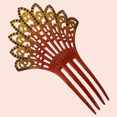 Victorian Celluloid Hair Comb With Purple Rhinestones