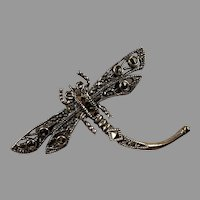 Vintage Sterling Marcasite Dragonfly Pin