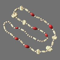 Neiger Brothers Red & Cream Czech Glass Elephant Necklace