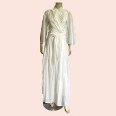 Vintage Off White Bias Cut Peignoir Size XS