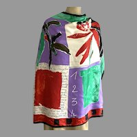 Vintage Large Silk Jaeger Save The Planet Scarf