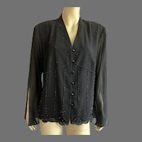 REDUCED 1980's NWT Black Evening Jacket With Beading Large Size Made In USA