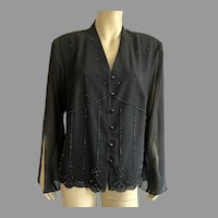 1980's NWT Black Evening Jacket With Beading Large Size Made In USA