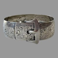 Sterling Engraved Buckle Cuff Bracelet By Ecco