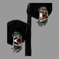 Sterling Vermeil Carnelian Chrysoprase Onyx Half Hoop Earrings