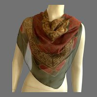 1970's Made In Italy Polyester Sheer Scarf Fall Colors