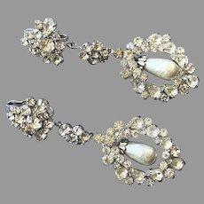Dazzling Clear Rhinestone & Faux Pearl Dangle Clip Earrings