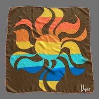 1970's Vera Stylized Sun Motif Silk Scarf Made In Japan