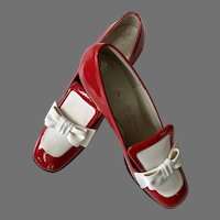 Never Worn 1960's Red & White Chunky Shoes Saks Fifth Avenue By Pacelle