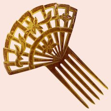 Vintage Blond Tortoise Shell Celluloid Hair Comb