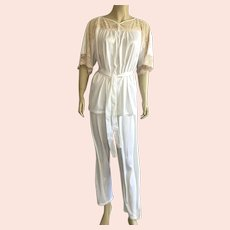 1960's Undercover Wear White Nylon Pajamas With Lace Made In USA