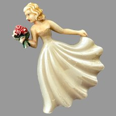 Vintage German Celluloid Woman Holding Flowers Pin 1930's