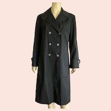 Vintage Black Jaeger Double Breasted Raincoat Size L