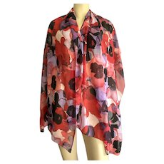 Calvin Klein Watercolor Abstract Floral Large Scarf / Shawl