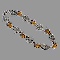Art Deco Czech Yellow Glass Stone Filigree Necklace