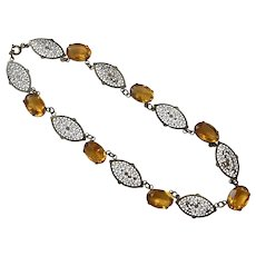 REDUCED Art Deco Czech Yellow Glass Stone Filigree Necklace