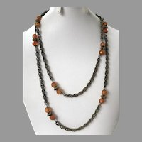 Miriam Haskell Chain Necklace With Faceted Crystal Beads c.1950