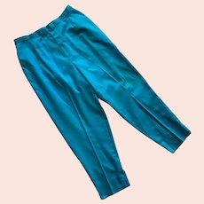 1960's Nani Of Hawaii Turquoise Cotton High Waist Pants