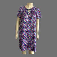 REDUCED 1970's Mod Print Polyester Robe Muumuu By Carriage Court Made In USA