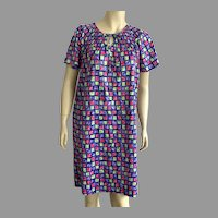 1970's Mod Print Polyester Robe Muumuu By Carriage Court Made In USA