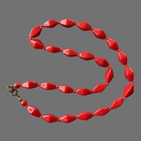 Red Czech Glass Beaded Necklace