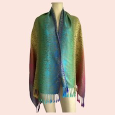Rainbow Colored Scarf / Shawl With Leopard Print and Fringe