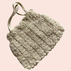 1940's Cream Crochet Purse With Zipper Closure