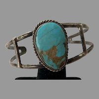 Vintage Native American Silver Two Wire Turquoise Cuff Bracelet