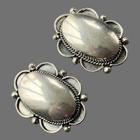 Large Mexican Sterling Oval Shape Clip Earrings