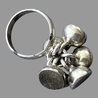 Whimsical Sterling Ring With Dangling Flattened Balls Size 7