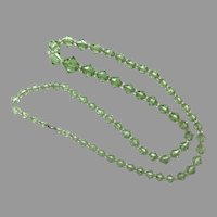 Austrian Green & Clear Crystal Bead Endless Necklace