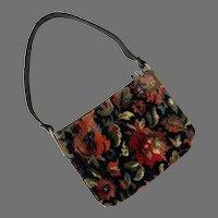 Vintage 1960's Chenille Purse Flowers & Leaves Design