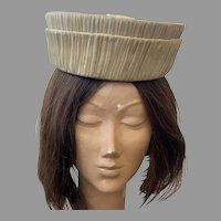 REDUCED Vintage 1960's Custom Design Pleated Silk Hat By Jan Leslie