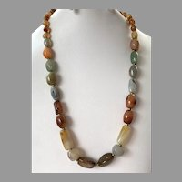 REDUCED Vintage Multi-Color Agate Beaded Necklace