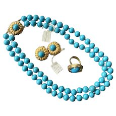 Vintage NOS Aqua Beaded Necklace Earrings Ring With Tags