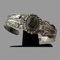 Vintage Native American Silver Products Coin Silver Cuff Bracelet 1920's 30's