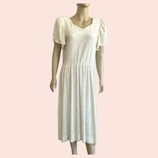 1970's Cream Leslie Fay Fortuny Pleated Dress Made In USA